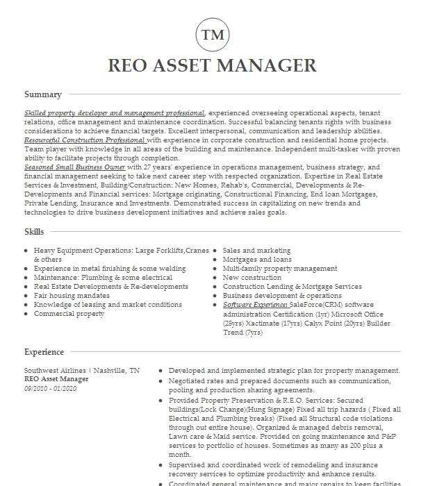 reo manager   property manager resume example real estate