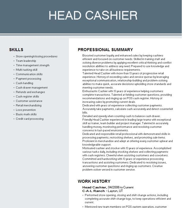 Head Cashier Resume Example Forever 21 Englewood Colorado