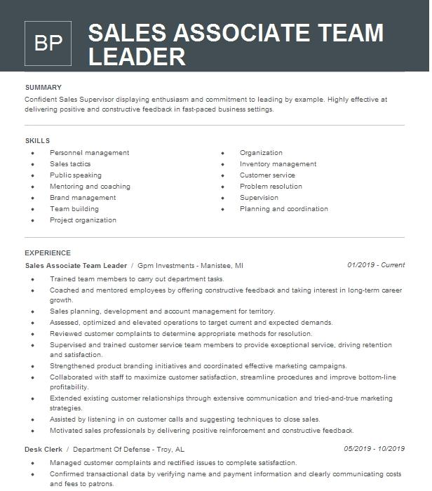 Sales Team Leader Resume Example American Eagle Outfitters Orlando Florida