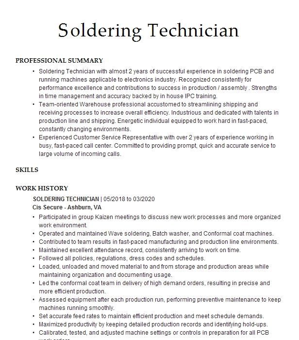 soldering and assembly resume example plumtronix