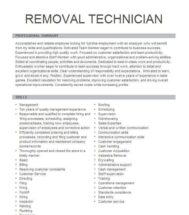 Removal Technician Resume Example Oregon Funeral Service