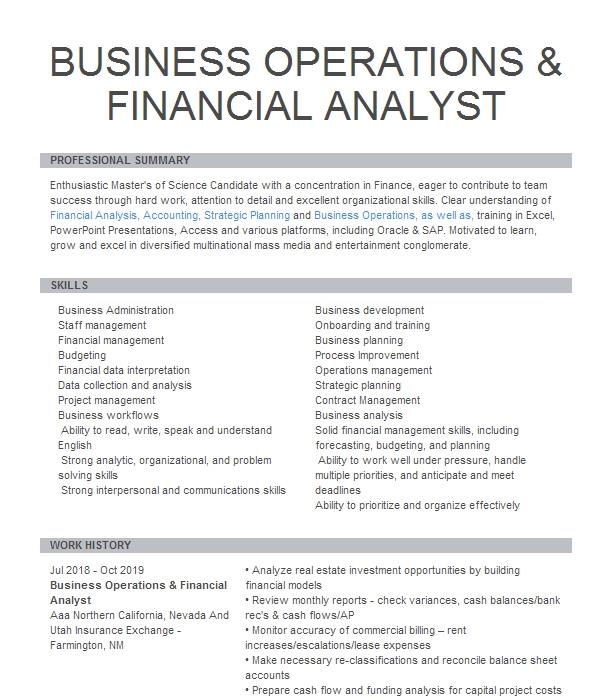Financial Operations Analyst Resume Example Department Of