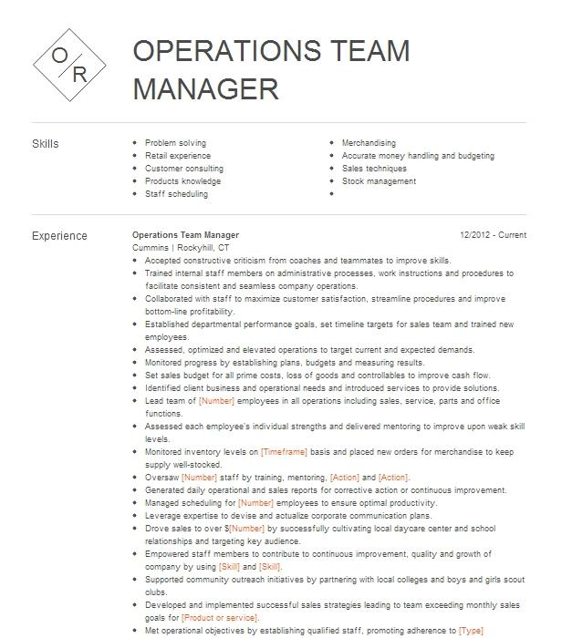 operations team manager resume example belk
