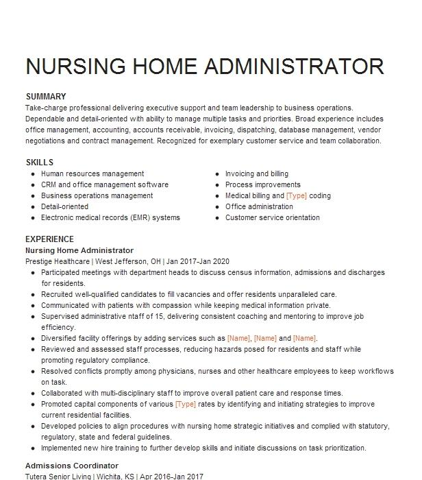 assistant nursing home administrator resume example york
