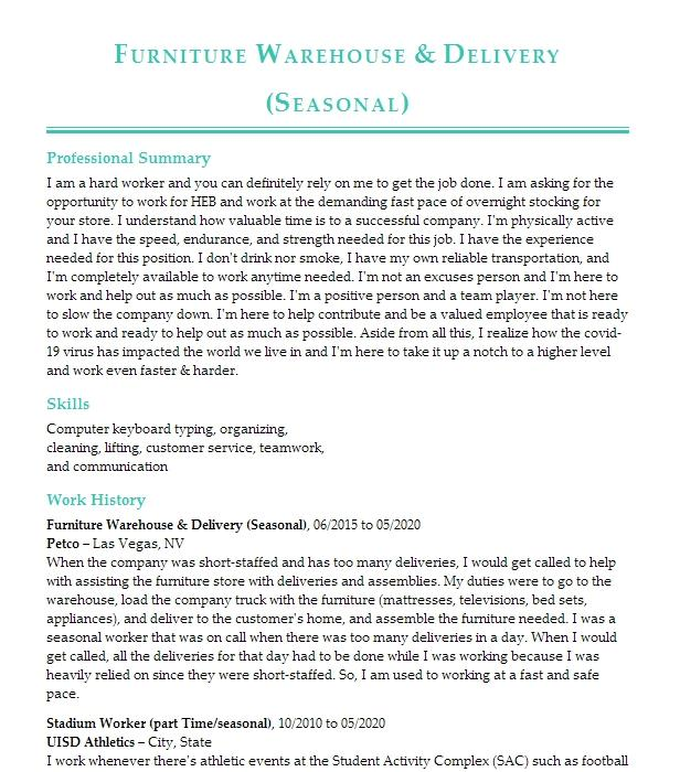 warehouse  furniture assembler resume example home makers