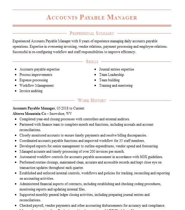 accounts payable manager resume objectives resume sample