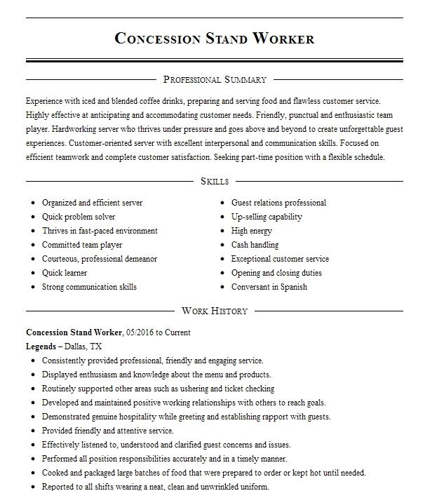 Concession Stand Worker Resume Sample | Worker Resumes | LiveCareer