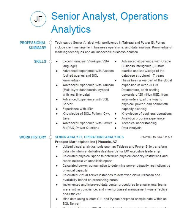 Senior Manager Analytics Resume Example Accenture Services