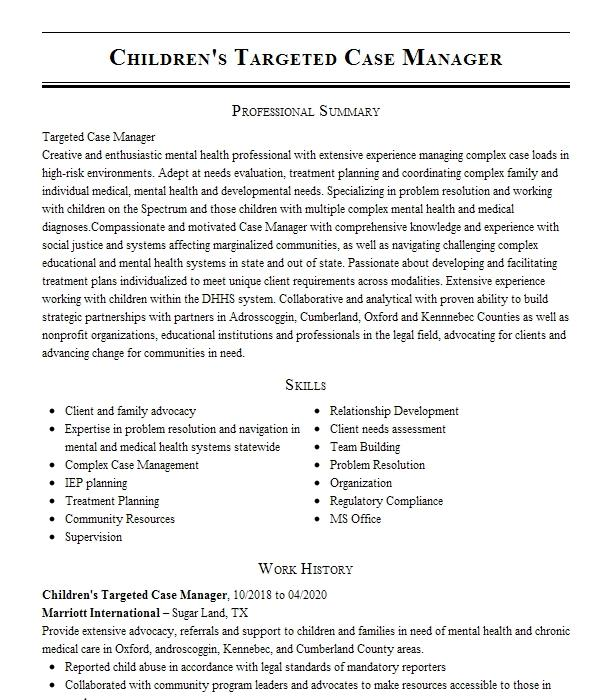 targeted case manager resume example mental health center