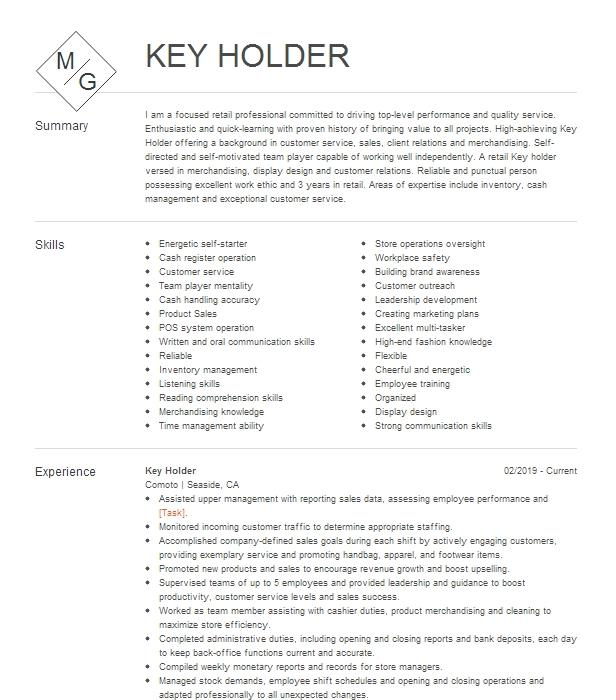 key holder resume example doller general