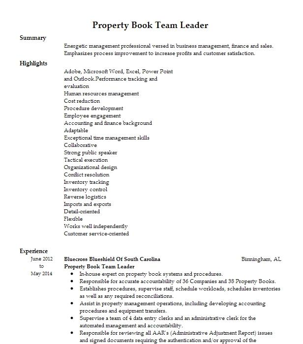 Property Book NCO Resume Example United States Army