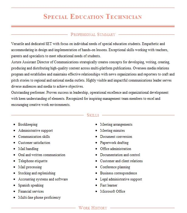 education technician resume example department of interior