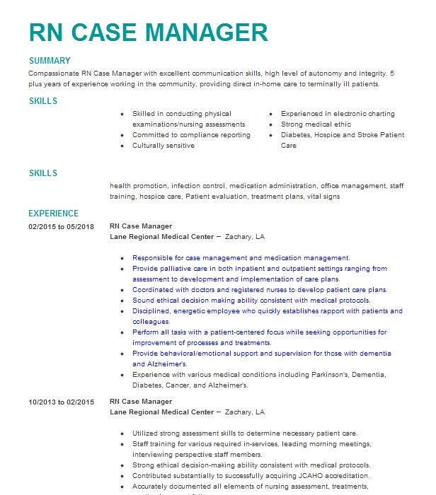 nurse case manager resume