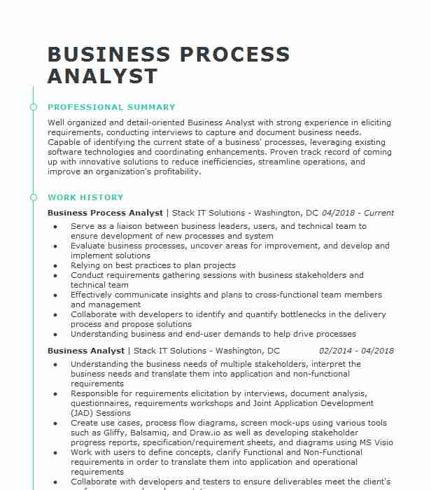 Business Process Analyst Resume Example Analyst Resumes Livecareer