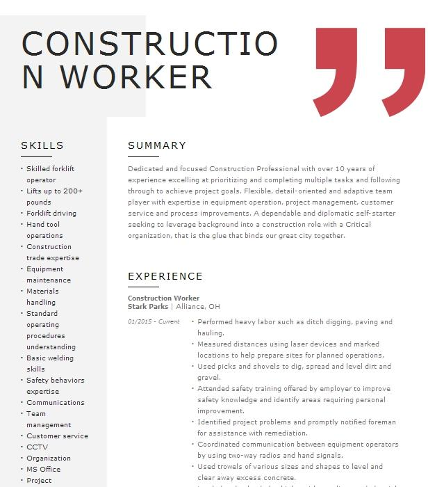 Construction Worker Resume Example Hirst Construction