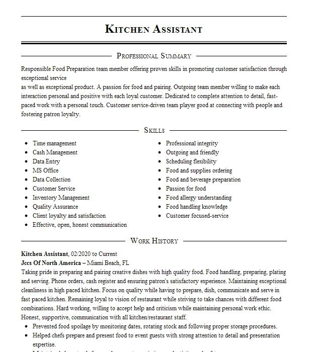 Kitchen Assistant Resume Example Assistant Resumes Livecareer
