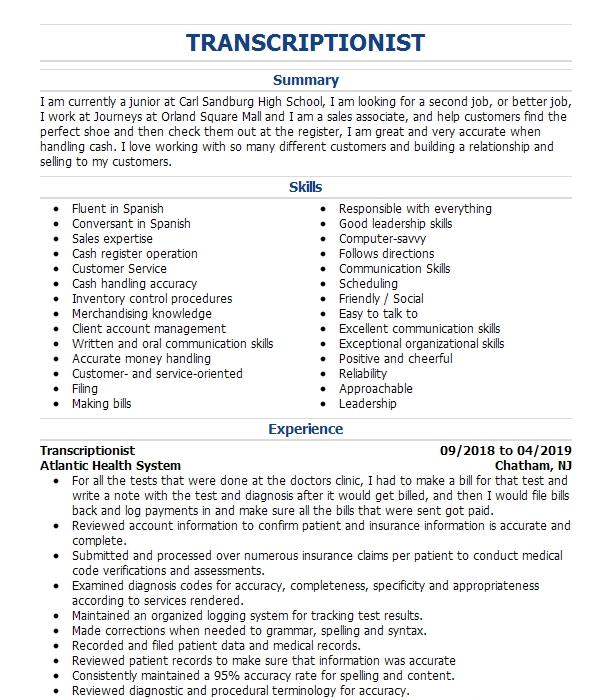 general transcriptionist resume example rev com