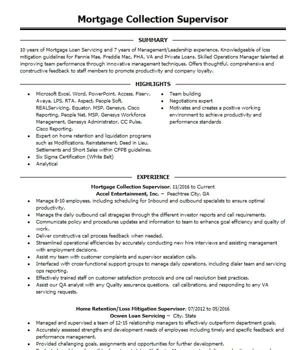 mortgage supervisor resume example us bank home mortgage