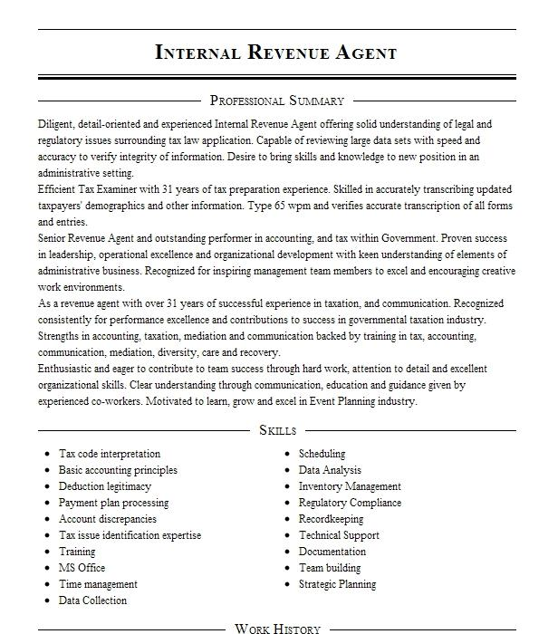 Compliance Auditor Resume Sample: Internal Revenue Agent Resume Example Internal Revenue