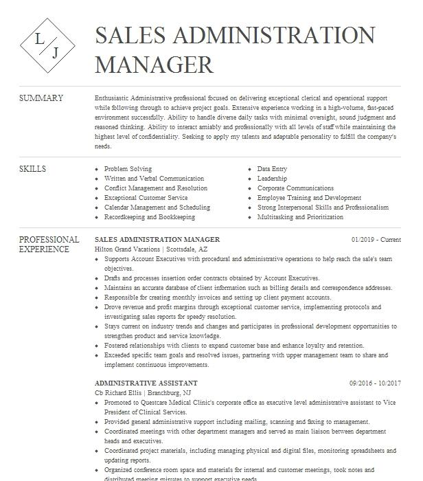 sales administration manager resume example custom brands