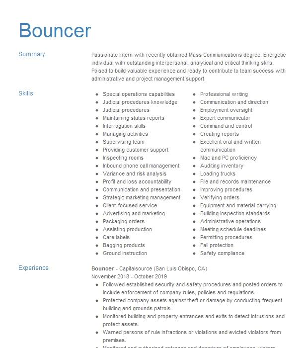 resume examples for bouncer