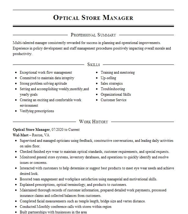 optical store manager resume example advanced eye care