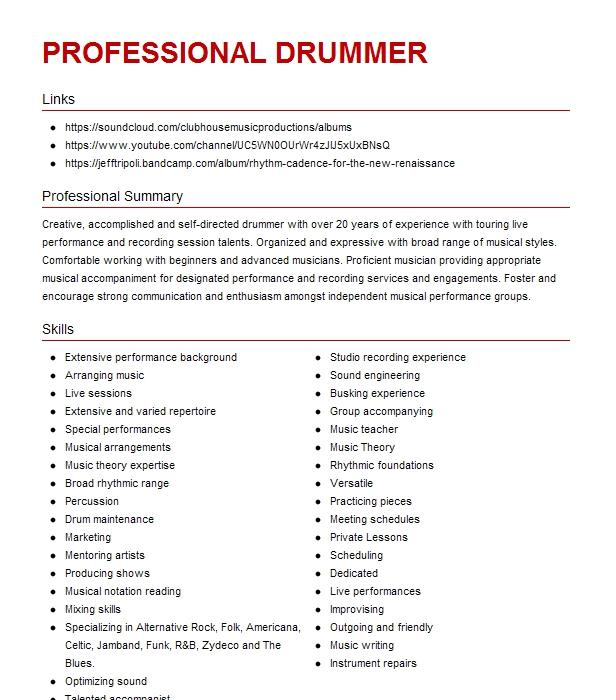 professional drummer resume example company name  rohnert