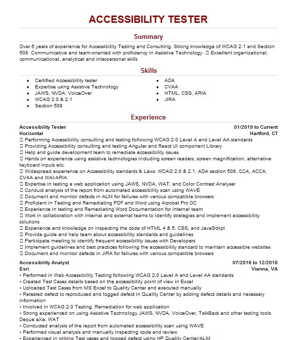 Accessibility Specialist Resume Example Sandata Technologies