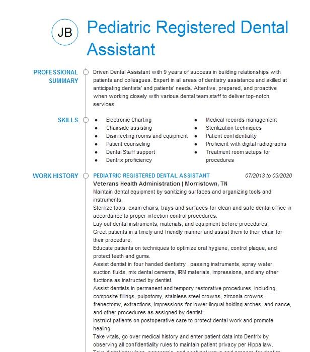 pediatric dental assistant resume example my kids dentist