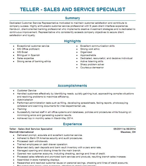 Sales Service Specialist Resume Example Bank Of America