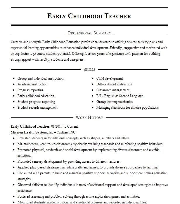 Early Childhood Teacher Resume Example Resumes Misc Livecareer
