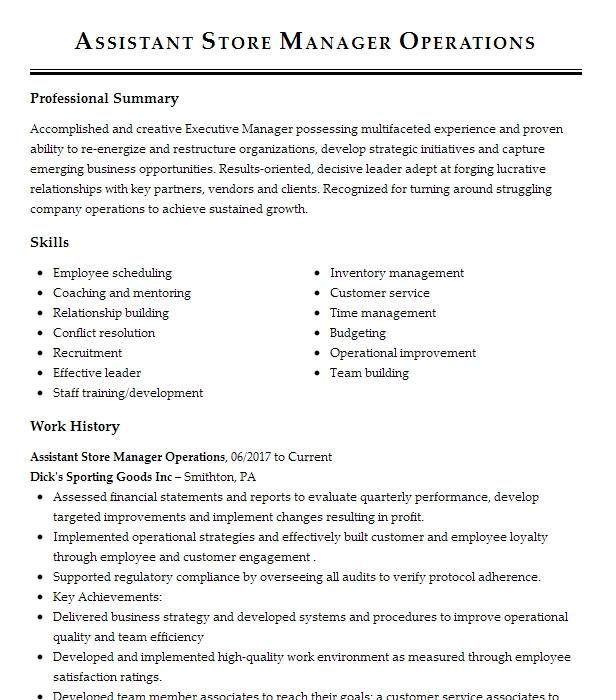 operations assistant store manager resume example home