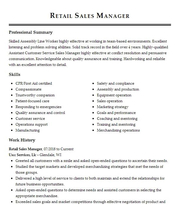 Retail Sales Manager Resume Example At T Simpsonville South Carolina