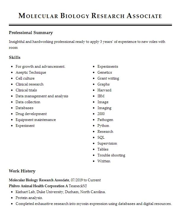 Biology Research Assistant Resume Example College Of Saint Rose