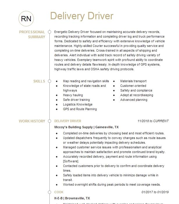 clerkdelivery driver resume example wells hardware