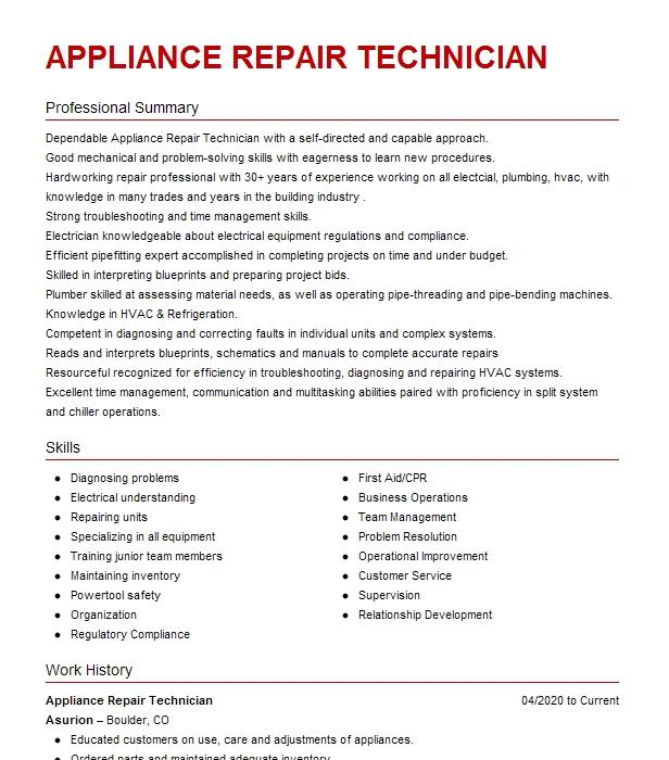 Appliance Repair Technician Resume Example The Appliance
