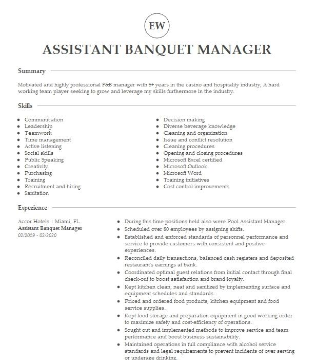 assistant banquet manager resume example pittsburgh