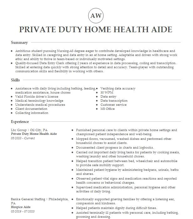 private duty home health care aide resume example self