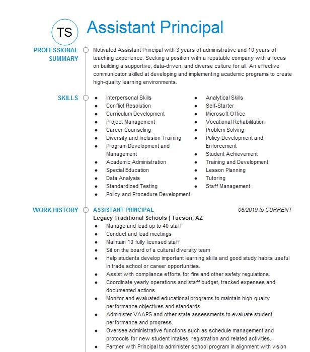 assistant principal resume example rodriguez elementary