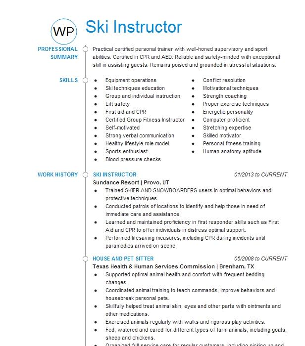 ski instructor resume example steamboat springs resort