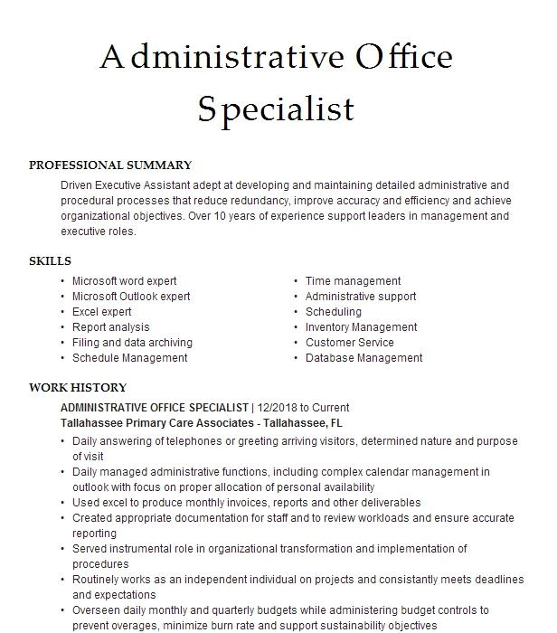administrative office assistant  triage specialist resume