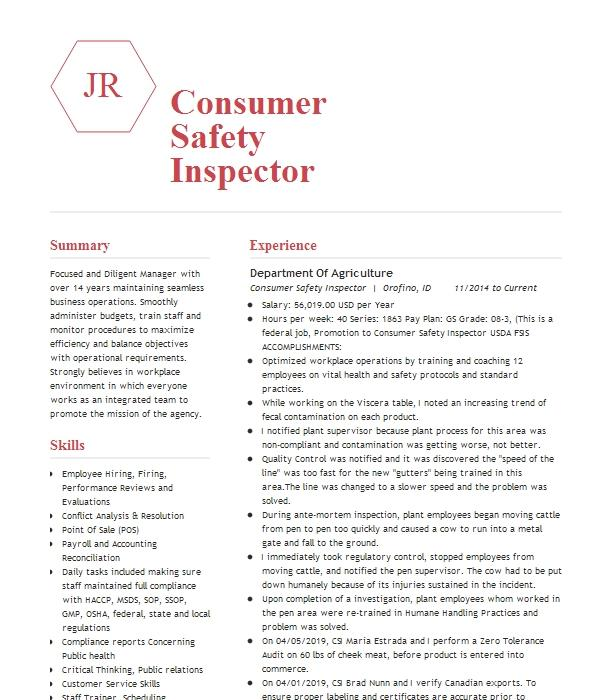 consumer safety inspector resume example u s  department