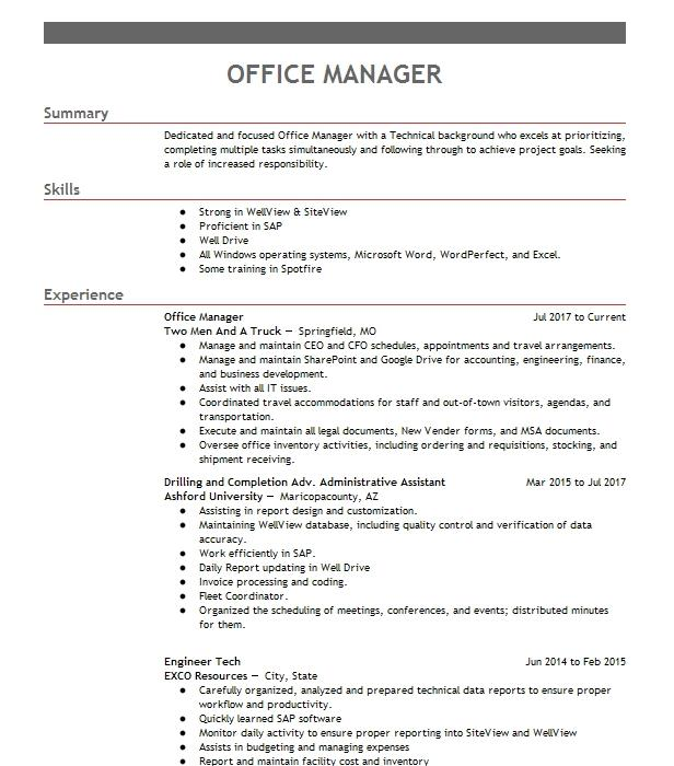 office manager objectives