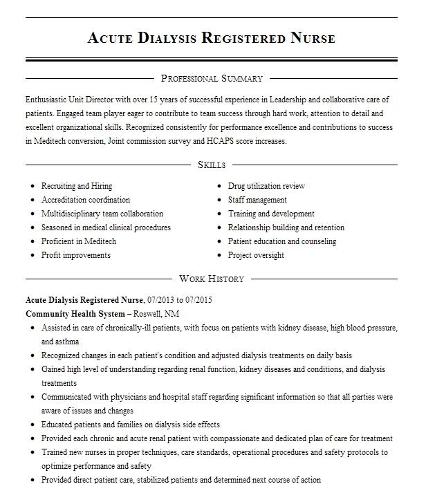 acute dialysis nurse resume example fresenius medical care