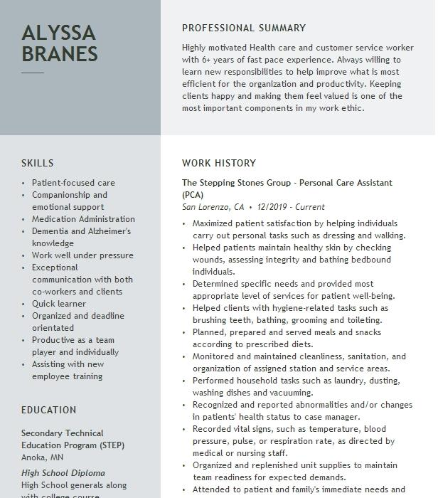 personal care assistant resume example pacifica senior