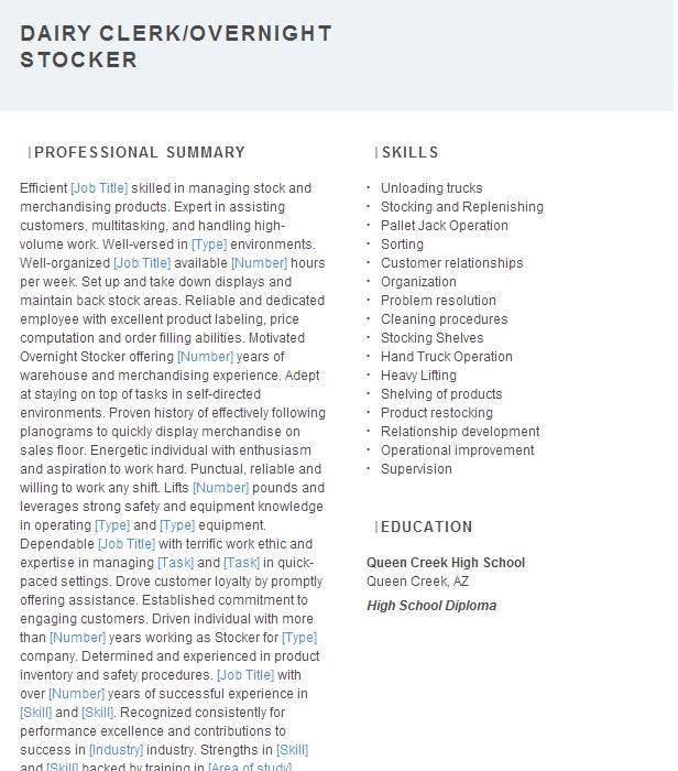 Dairy Buyer Stocker Resume Example Whole Foods Market