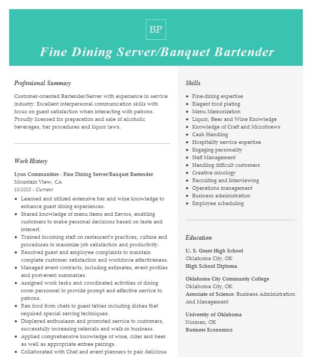 fine dining bartender resume example miami valley gaming