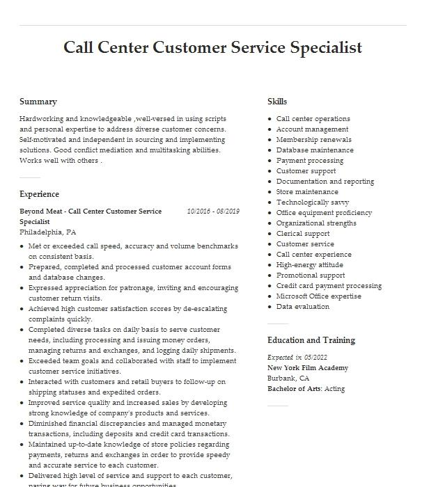 call center customer service and data entry resume example