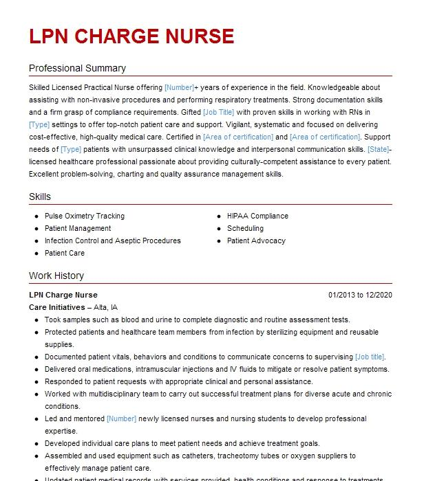 lpn charge nurse resume example franklin care center