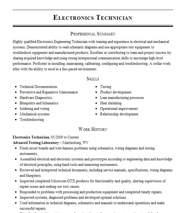 Electronics Technician Resume Example Us Navy